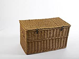 Storage Trunk Extra Large 90cm Honey Wicker Blanket Box