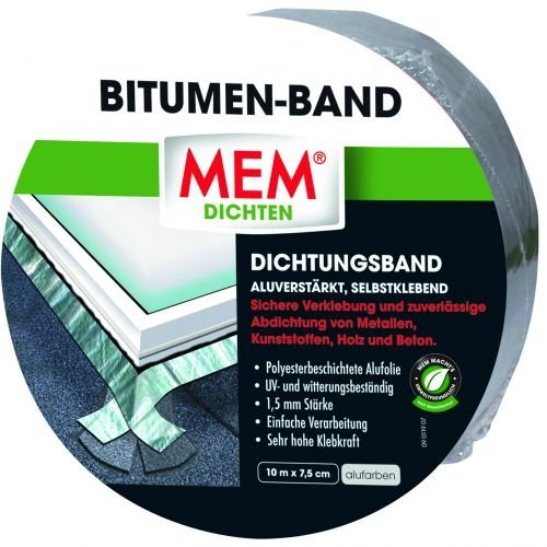 MEM 500480 Bitumen Band 10m x 75 mm alu