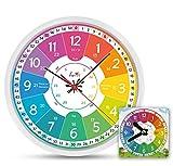 Funtini Kinderuhr-Set ◆ lautlos ◆ | Wanduhr Ø30cm ★ mit Spielzeug-Lernuhr ★ zum Uhr lesen lernen | Geschenk-Idee: Kinderwanduhr groß und bunt für Jungen & Mädchen | Kinderzimmer Uhren-Set ohne Ticken