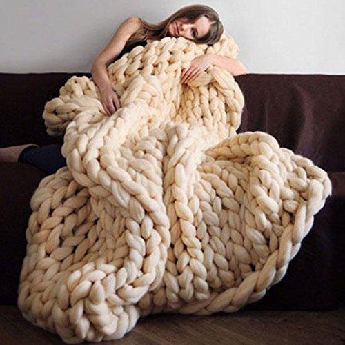 Strickdecke, Essort handgefertigt gehäkelter Strick Decke, warm Winter Sofa Bezug Kuscheldecke, dick Gewinde Decke Steppdecke für Bett, Wohnzimmer, Yoga, Teppich Decor, cremefarben, 100*120cm