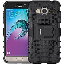 Galaxy J3 Funda, Fetrim Proteccion Cáscara Cases delgada de golpes Doble Capa de Tough Armor Anti-Shock de soporte de Protectora para Samsung Galaxy J3 (2016) (Negro)