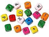 SiAura Material ® - 500 Stück Buchstabenmix A-Z Holzperlen 9x10mm mit 3,3mm Loch, Eckig, Bunt zum Basteln