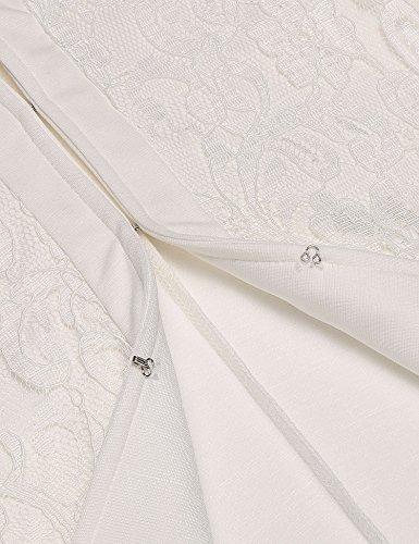 Finejo Damen Blazer Festlich Bolero Jacke Rundhals Kragenlos Spitzen Kurzblazer Elegant Business Weiß