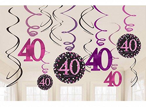 burtstag Swirl-Set 12 Stück Folienspiralen zum Aufhängen pink rosa glitter (40 Geburtstag Dekorationen)