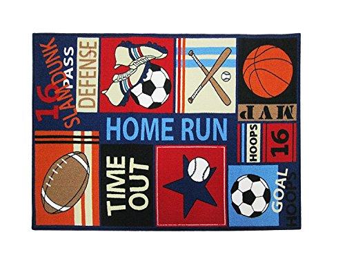 Kinder-fun-teppich (Fun Sport Kinder Teppiche Nylon Teppich Fußball Baseball Fußball Basketball mit Mehrfarbig für junge Mädchen Spielzimmer, Nylon, blau, 80*120cm(31.5''*47''))