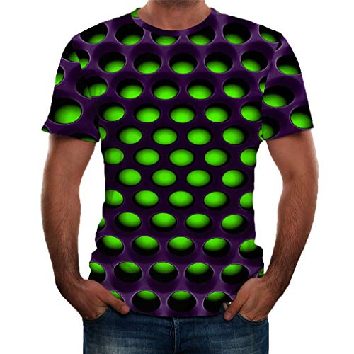 T-Shirts 3D Stampa Girocollo Sportivo Maglietta in Forma Top Top in Camicetta Comfort Moderna con Stampa Maniche Corte 3D Stile Estivo da Uomo (XXL,3- Verde)