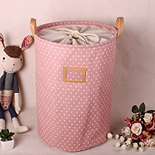 Addfun®Premium Fabric Foldable Round Laundry Basket, Striped Clothes Laundry Basket Children Toys Storage Holder with Lids 35*45cm Pink Dot