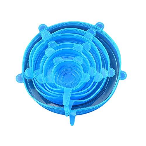 Ruiting Stretch Silikon-Deckel Set Blau 6Pcs elastische Dichtung Abdeckung für Lebensmittel Obstschale Wiederverwendbare Silikon-Bowl-Abdeckung Wrap - Dehnbare Koffer Abdeckung