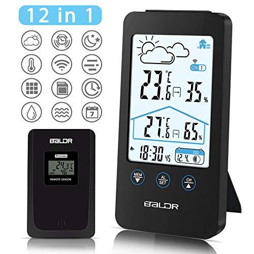 Nasharia Wetterstation Funk mit Außensensor, Digital Thermometer-Hygrometer für Innen und außen, Hintergrundbeleuchtung und aktuelle Uhrzeit, schwarz