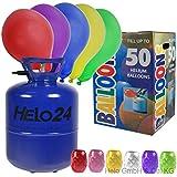 Helium Ballongas 22,3L Heliumflasche Gas für 50 Luftballons inkl 50 Luftballons