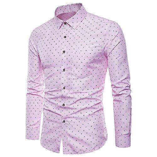 Makefortune Herren Business Hemden Regular Fit Langarm gemustertes Baumwollhemd mit Knopfleiste und Tasche Plus Größe M-4XL