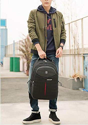 HTRPF Schultertasche Middle School Student Bag Business Travel Rucksack Black