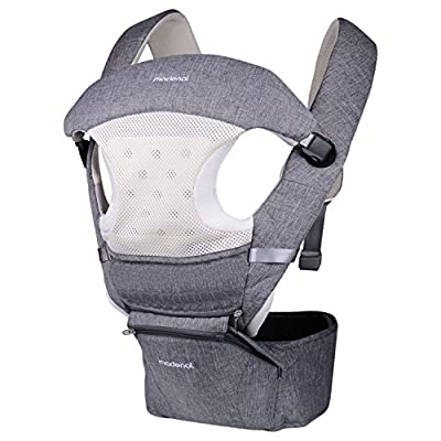 MADENAL 360º Ergonomic Baby Carrier with Hip Seat, 10 Positions For All Seasons, 48.8'' Maximum Adjustable Waistband, Breathable and Soft Fabric
