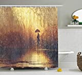 ZHIZIQIU Modern Shower Curtain, Silhouette of Lonely Woman Under Rain with Umbrella Dramatic Paint Picture, Fabric Bathroom Decor Set with Hooks, 60x72 Inches, Light Caramel Yellow