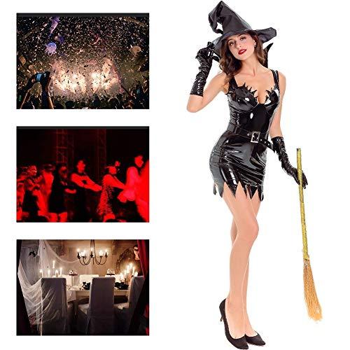 Witwe Sexy Spinne Kostüm Schwarze - JH&MM Halloween Kostüm Damen Schwarz Sexy Lackleder Hexenkostüm PU Leder Teufel Maskerade Kostüm