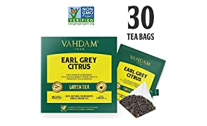 Earl Grey Citrus Green (30 Tea Bags), Green Tea Leaves from The Himalayas Blended with Natural Bergamot Oil - Finest Earl Grey Tea Bags, Long Leaf Bergamot Tea Bags, Detox Tea & Slimming Tea