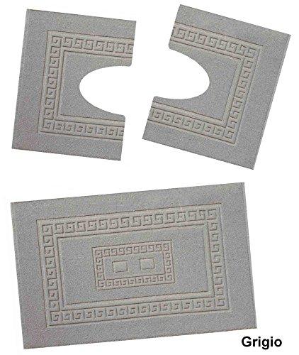 Casa tessile torino set 3 tappeti bagno in spugna cm 60x90 + 2 girowater cm 60x45 - grigio