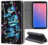 Samsung Galaxy S7 Edge G935F Hülle Premium Smart Einseitig Flipcover Hülle Samsung Galaxy S7 Edge G935F Flip Case Handyhülle Samsung Galaxy S7 Edge G935F Motiv (1156 Music Noten Schwarz Blau)