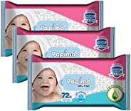 Papimo Ultrasoft Baby Wet Wipes With Aloe Vera NO Parabens NO Alcohol - 72 Count (Pack of 3)