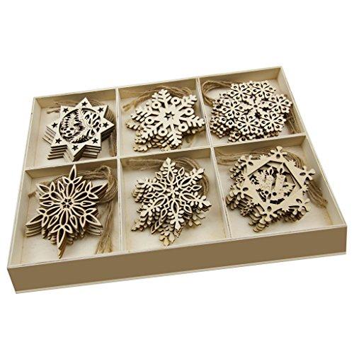 JHYQ-DE 30 Teiliges Set Holz Anhänger Schneeflocke,hölzern Verzierungen Form Deko Weihnachten DIY Handwerk holzherzen Stück,Holzscheiben Handgemachten Schmuck (Schneeflocke)