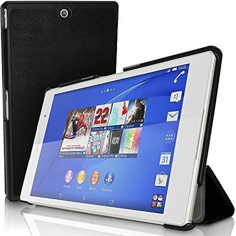 igadgitz Premium Noir PU Cuir Smart Cover Etui Housse Case pour Sony Xperia Z3 Tablet Compact SGP611 avec Support Multi-Angles + Mise en Veille / Réveil + Film de Protection