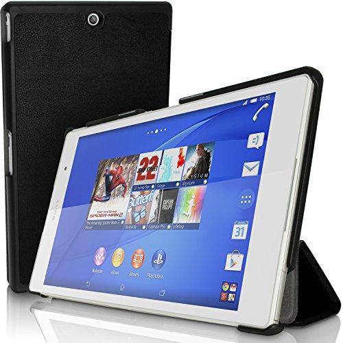 igadgitz Schwarz PU Ledertasche Hülle Smart Cover für Sony Xperia Z3 Tablet Compact SGP611 mit Multi-Winkel Betrachtungs + Auto Sleep/Wake + Displayschutzfolie
