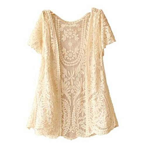 VORCOOL Camicia Top camicetta donna, aperto a maglia gilet Boho estate Crochet Casual top camicetta (Beige)