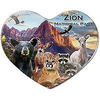 78bf5e81c3fc1 Zion National Park Utah UT Tiere Cougar Bär Hirsch Waschbär Herz Acryl  Kühlschrank Magnet