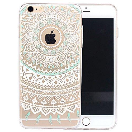 iPhone 5 Case, Walmark Beautiful Clear TPU Soft Case Rubber Silicone Skin Cover for iPhone 5 inch - White Mint Tribal Mandala