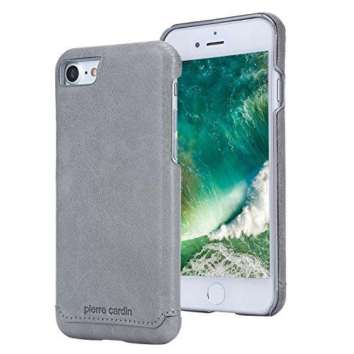 7 & iPhone 8 Hülle, Premium Luxuriöser italienischer echtem Rindsleder Rückseitige Hartgehäuseabdeckung/Handyschutzhülle für Apple iPhone 7 & iPhone 8 4.7 Zoll, Grau (Pierre Silber Kostüme)