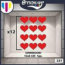 Vetrofanie SanValentino Adesivi SanValentino - Set 12 cuori 10x8cm - Decorazioni per SanValentino adesivi e Vetrofanie SanValentino, vetrine negozi, stickers (Rosso)