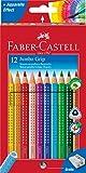 Faber-Castell Bundle 110912 Buntstift Jumbo GRIP 12er Kartonetui; inklusive Spitzer und Faber-Castell 110994 - Buntstifte Jumbo Grip Neon, 5-er Etui