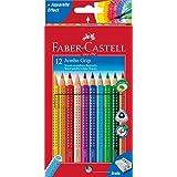 Faber-Castell 110912 Buntstifte Jumbo Grip (inklusive Spitzer) 12er Kartonetui