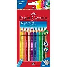 Faber Castell 110912 - Jumbo, estuche de cartón con 12 ecolápices de colores Grip, acuarelables, lápices escolares, multicolor