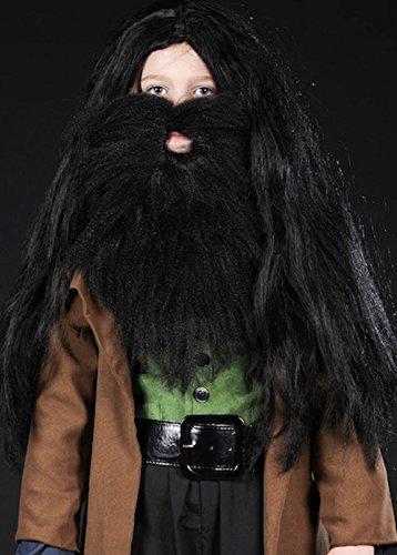 Struts Fancy Dress Kinder Hagrid Style Schwarz, buschige Perücke und Bart