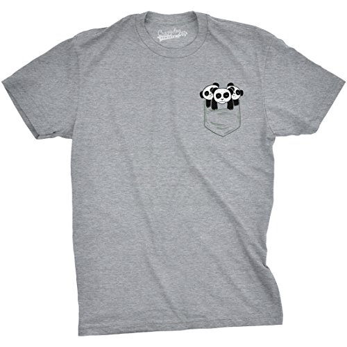 7e1a3b70106721 Crazy Dog Tshirts - Mens Pocket Pandas Funny T Shirts Printed Graphic Humor  Cool Panda Novelty T Shirt (Grey) XL - Camiseta Divertidas