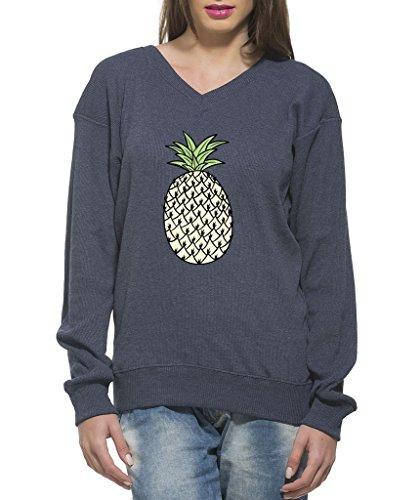 Clifton Women's Printed Sweat Shirt V-neck-navy Melange-Pinaple-7XL
