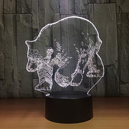 BFMBCHDJ Oso polar Animal 3D Lámpara LED Sensor táctil