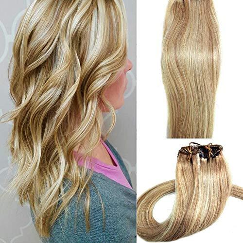 ar Extensions Blonde 15 Zoll 70g Clip für feines Haar vollen Kopf 7 Stück seidig gerade Schuss Remy Haar (15 Zoll, 27/613) ()