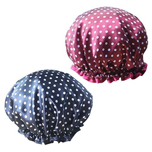 Frcolor 2pcs bonnet de bain, satin à double pont doux imperméable lavable bouchon de douche (noir base blanc Dot + vin rouge base rouge Edge)