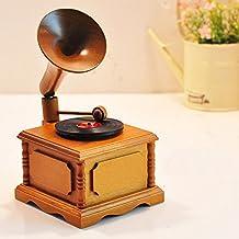 """xytmy de madera Old Fashion caja de gramófono música Vintage Look, """"Castillo en el cielo,"""" regalos para Navidad/cumpleaños."""