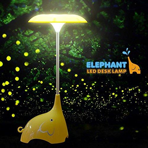 Lyy Creative LED Night Light Bett Schlafzimmer Cartoon Elefant Tischleuchte Touch-Schalter Drei Gänge Dimmen USB Kostenlos Schreibtisch Lampe , yellow