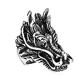 XNCBM La joyería para Hombre de Acero Inoxidable en Relieve de la Cabeza del dragón de la Vendimia CZ Banda Anillo de Plata gótica del Motorista Negro