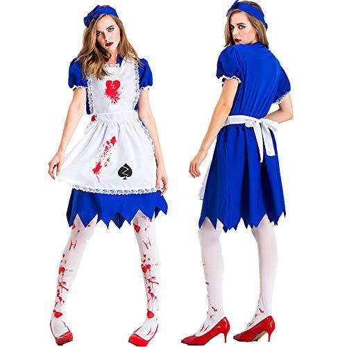 Kostüm Für Zombie Bananen Erwachsenen - WANLN Erwachsene Frauen Horror Zombie Bloody Maid Kostüm Halloween Kostümparty Outfit,Blau,XXL