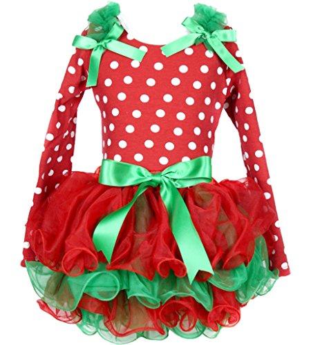White Polka Dot L/s Shirt Red Green Petal Skirt Set 1-8y (3-12monat) ()