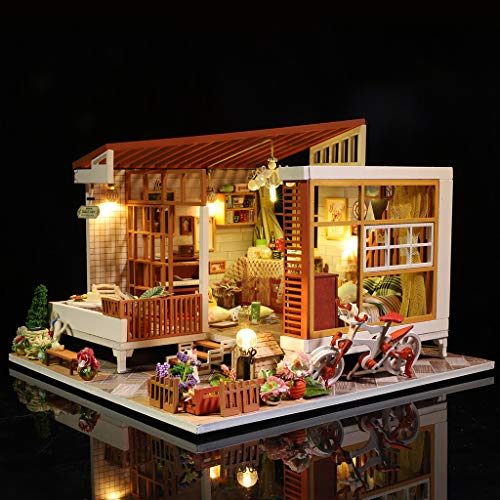 ToDIDAF Wooden Dollhouse 3D DIY Miniature House Furniture LED House Puzzle Educational Toy for Kid Birthday Valentine's Day for Bedroom Home Garden Decor - Mini Patio (No Dust Cover) -