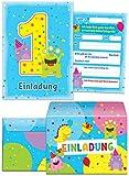 12 Einladungskarten zum 1. Kindergeburtstag blau / schöne Einladungen zum Geburtstag für Jungen und Mädchen