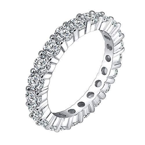 AoedeJ Runde CZ Sterling Silber Simulierte Diamant Eternity Band Ringe Ring Eheringe Stapeln (59 (18.8)) (Diamant Ringe Versprechen)