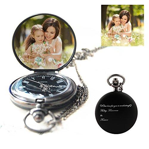 Orologio da tasca personalizzato orologio da tasca personalizzato con foto orologio al quarzo inciso con parole e foto, un grande regalo per la festa del papà, regali per l'anniversario