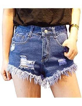 Sentao Donna Jeans Sottili Nappa Estate Hot Pants Buco Denim Vita Alta Strappati Pantaloncini Corti
